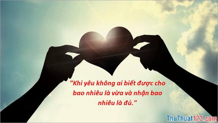 Khi yêu không ai biết được