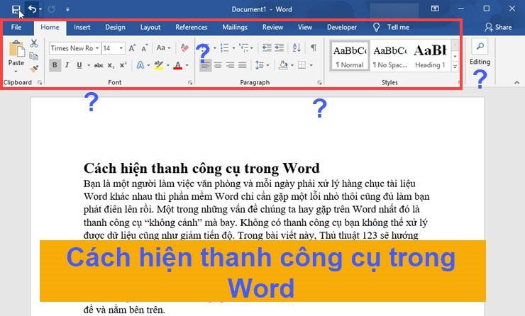 Cách hiện thanh công cụ trong Word