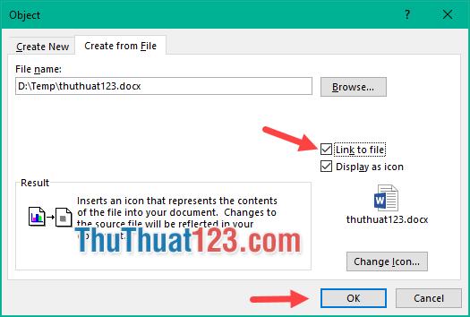 Chọn Link to file và Display as icon