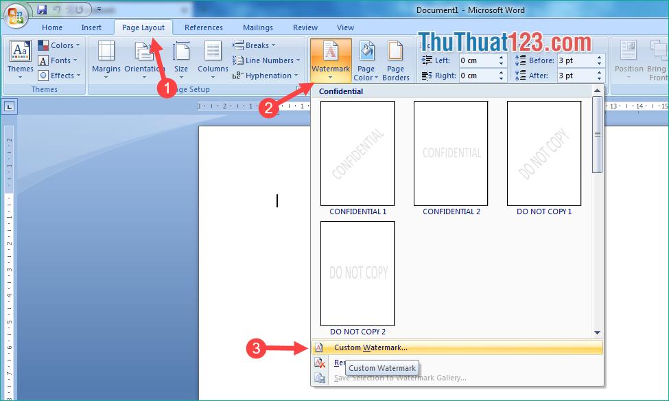 Chọn tab Page Layout - Watermark - Custom Watermark