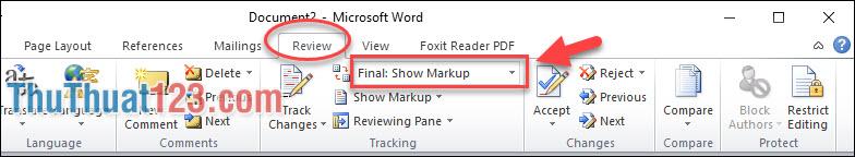 Vào menu Review - Final: Show Markup thì dòng Comment tự động hiện lên