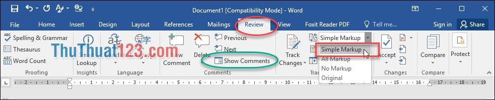 Vào menu Review - Simple Markup thì dòng Comment tự động hiện lên