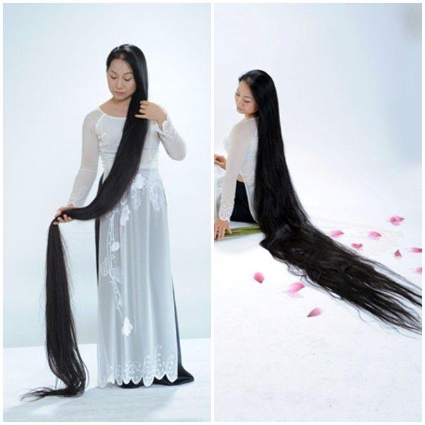 Tóc dài nữ để dài đến chân không uốn không ép, kiểu dáng tự nhiên