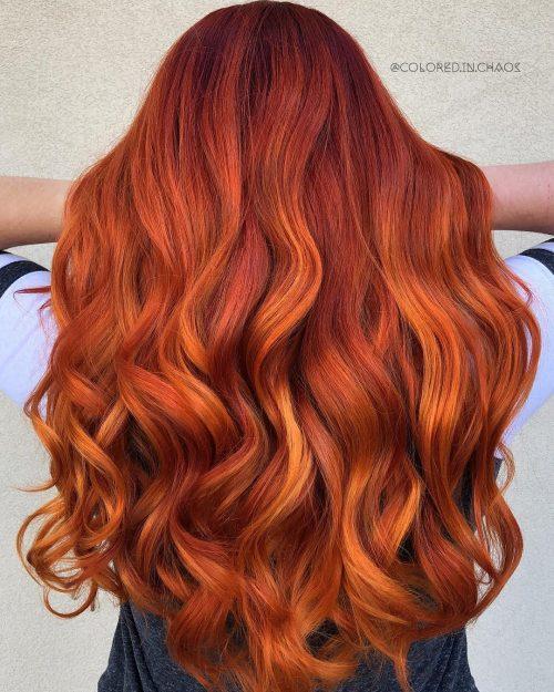 Tóc nhuộm màu cam nâu xinh đẹp