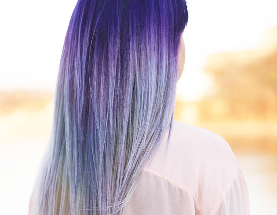 Tóc nhuộm màu tím xám