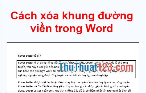 Cách xóa khung đường viền trong Word