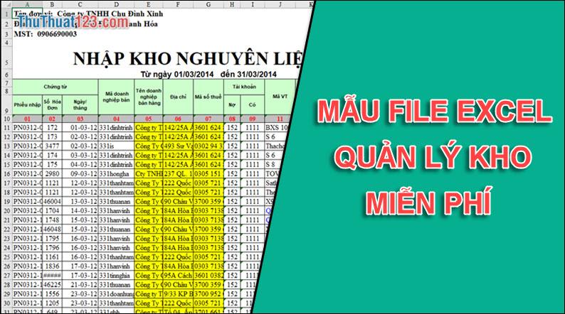 Các File Excel quản lý kho miễn phí tốt nhất