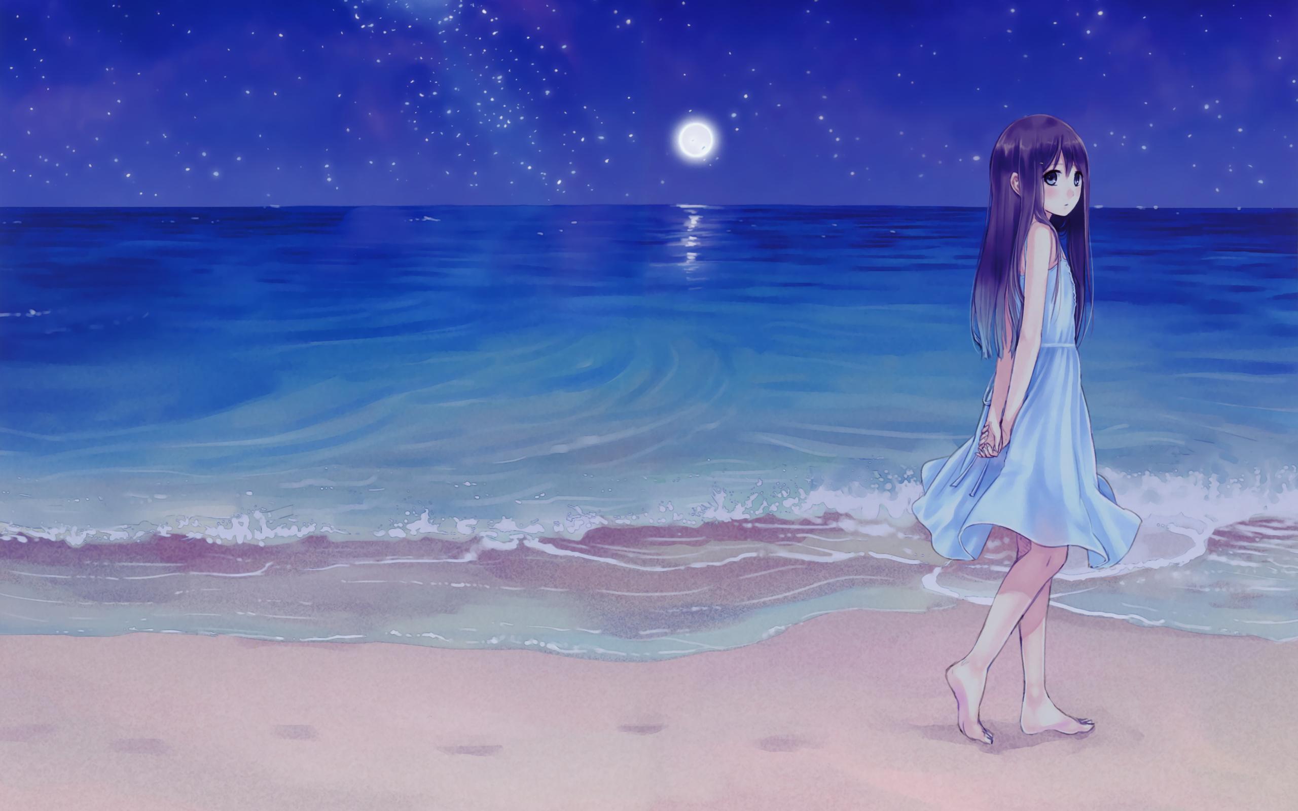 Hình ảnh Anime cô đơn trên bờ biển