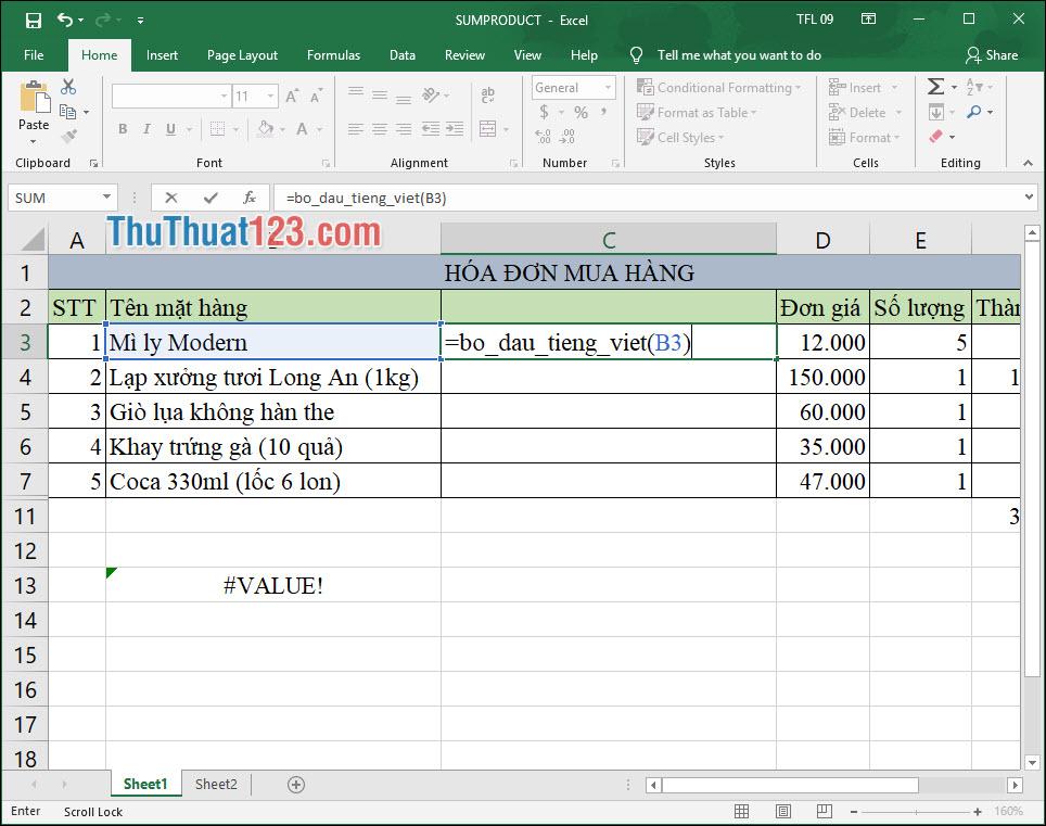 Nhập công thức vào Excel