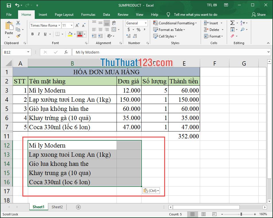 Quay lại file Excel và dán dữ liệu vừa chuyển đổi trên Unikey