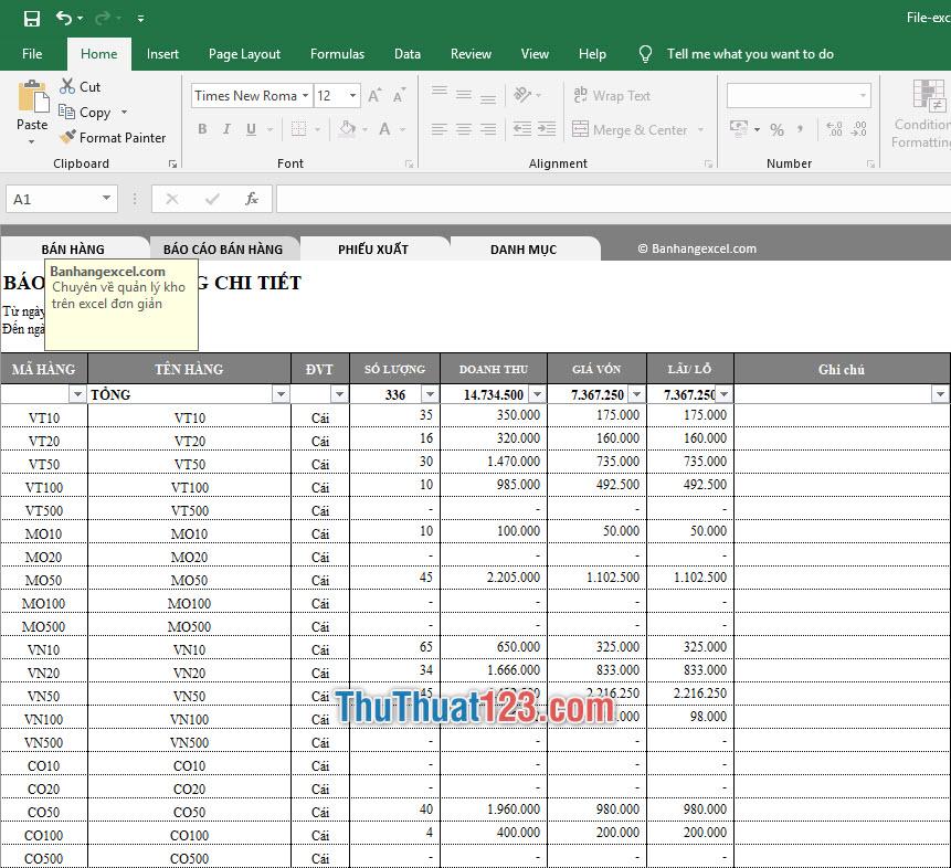 Báo cáo bán hàng chi tiết dành cho các mặt hàng mà bạn đã bán ra