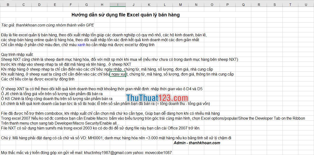 Hướng dẫn sử dụng file Excel quản lý bán hàng