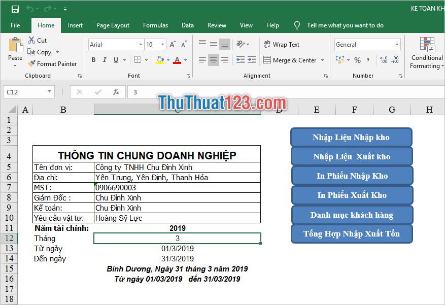 Phần mềm quản lý bán hàng bằng Excel của Chu Đình Xinh