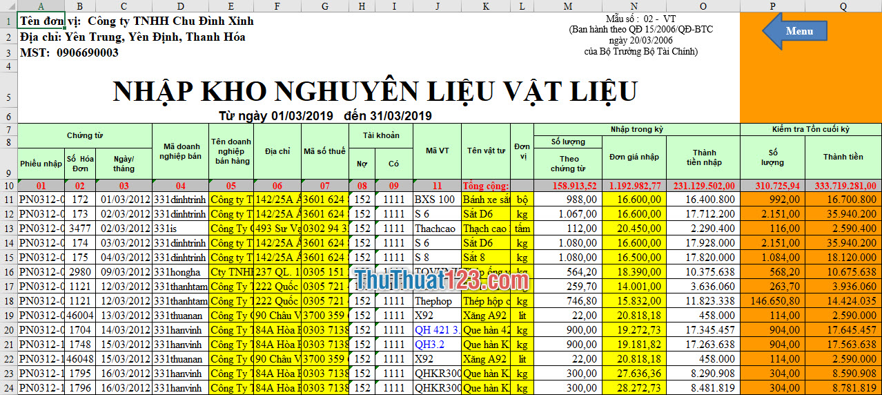 Trang sheet viết các thông tin về nhập kho