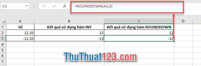 Cách sử dụng hàm ROUNDDOWN để lần phần số trước dấu phẩy