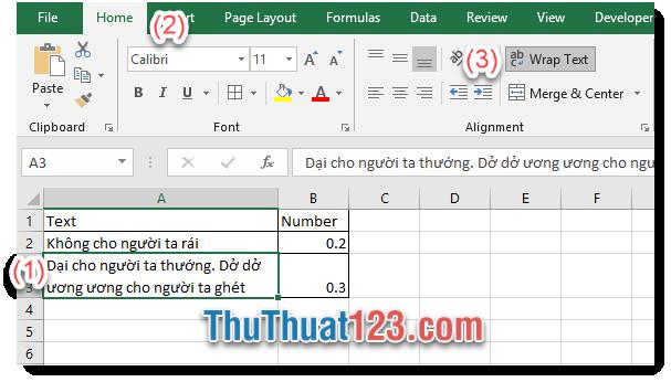 Excel sẽ tự động ngắn dòng và xuống dòng