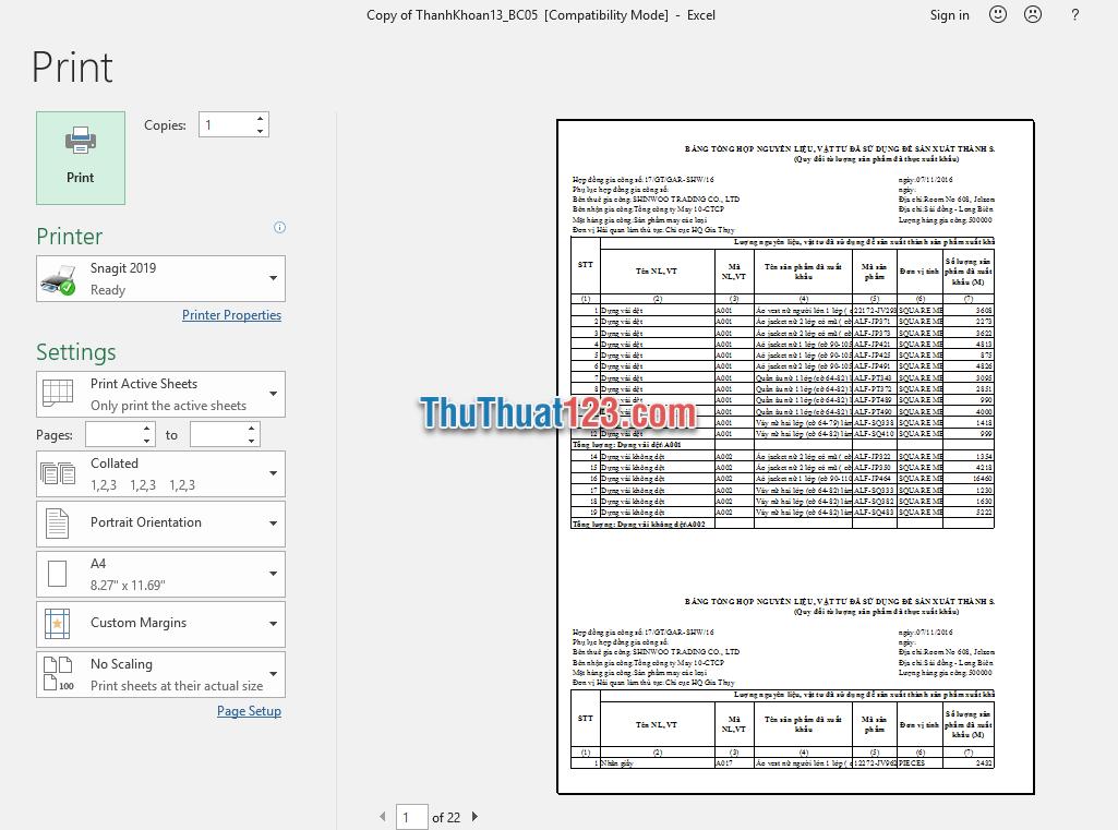 Xem trước bảng tính Excel