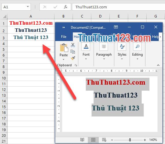 Để có thể sao chép dữ liệu Word sang Excel