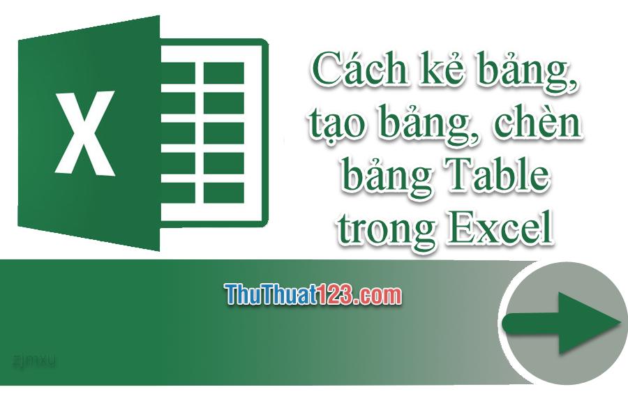 Cách kẻ bảng, tạo bảng Excel, chèn bảng Table trong Excel