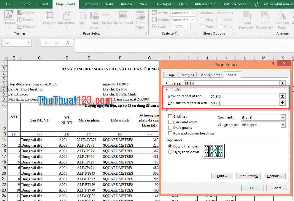 Cài đặt Page Setup