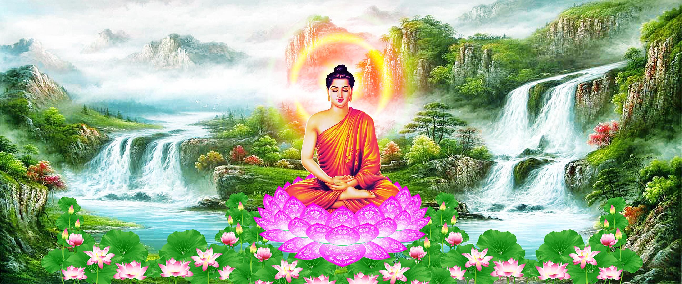 Đức Phật tọa trên đài sen trên nền thiên nhiên tươi mát