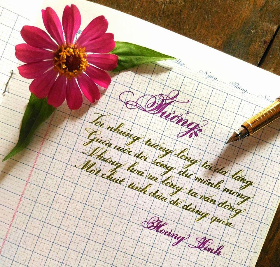 Mẫu chữ đẹp viết bằng bút mực