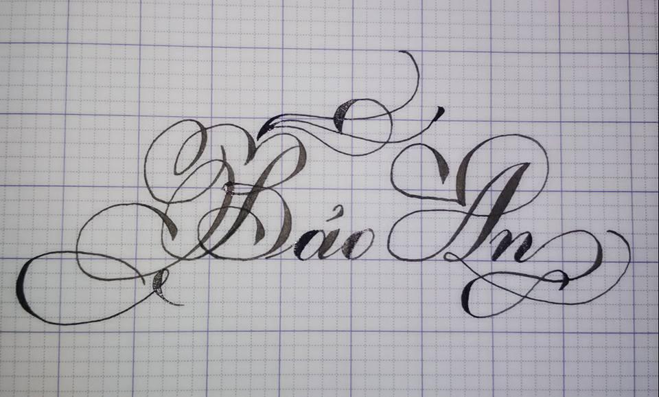 Mẫu chữ viết tay hoa văn