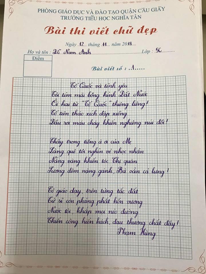 Mẫu chữ viêt tay học sinh