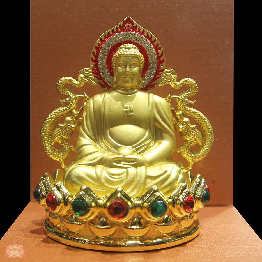 Tượng Đức Phật mạ kẽm khảm ngọc rất đẹp