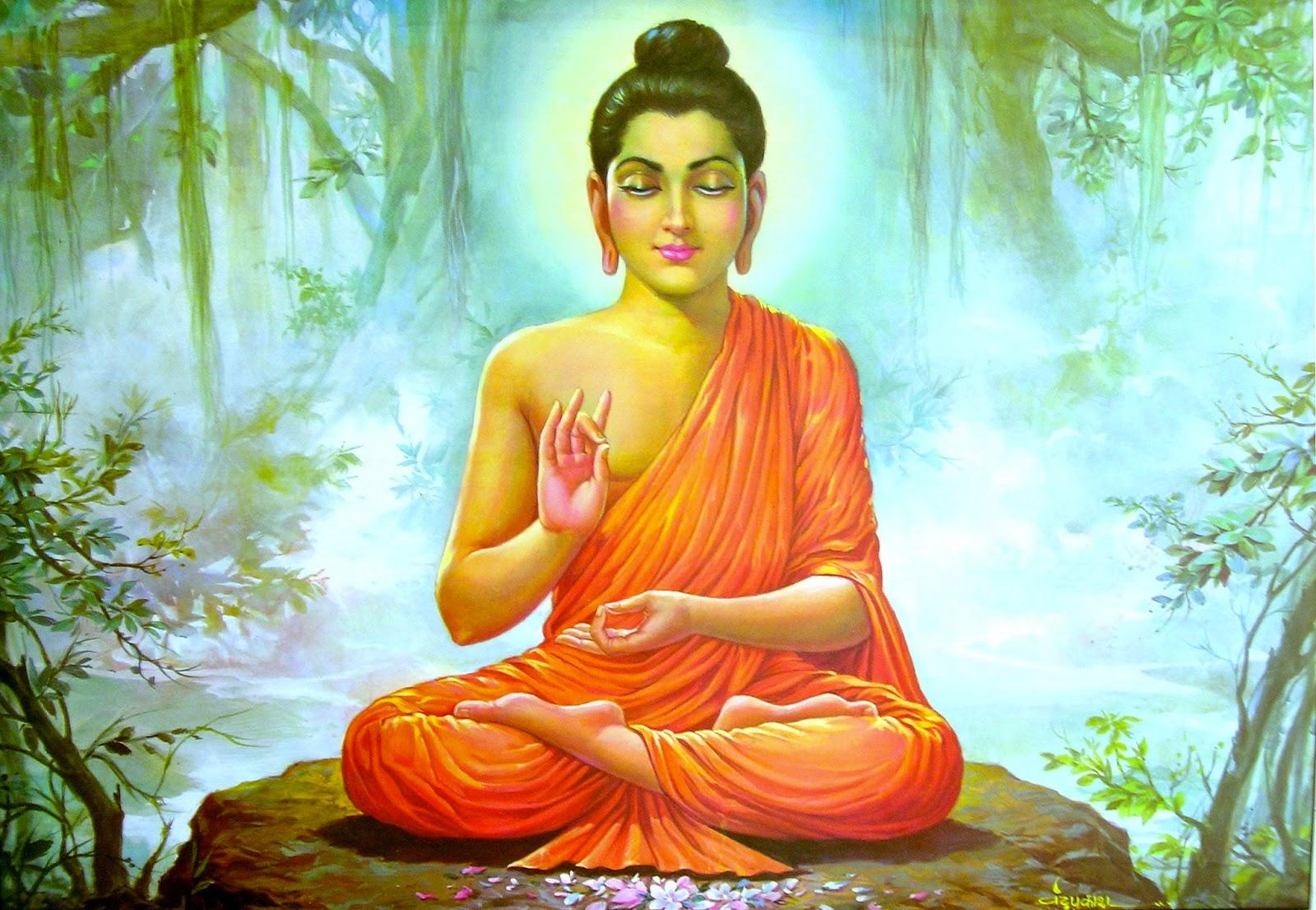 Tượng Phật ngồi thiền bên thiên nhiên tuyệt đẹp