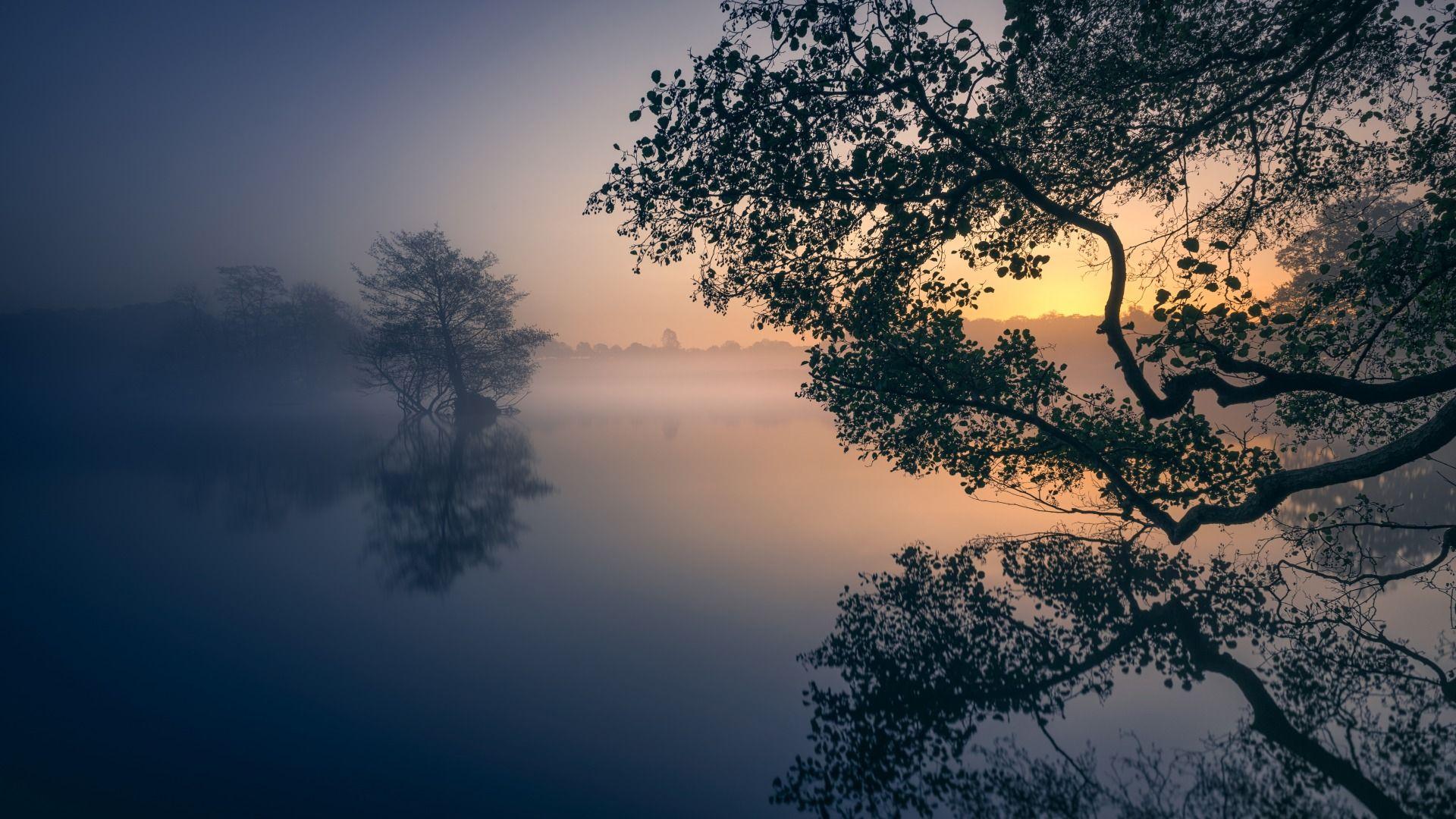 Ảnh thiên nhiên đẹp mặt hồ phẳng lặng