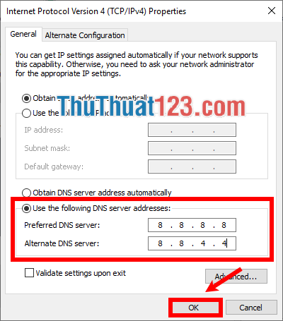 Chọn Use the following DNS server addresses