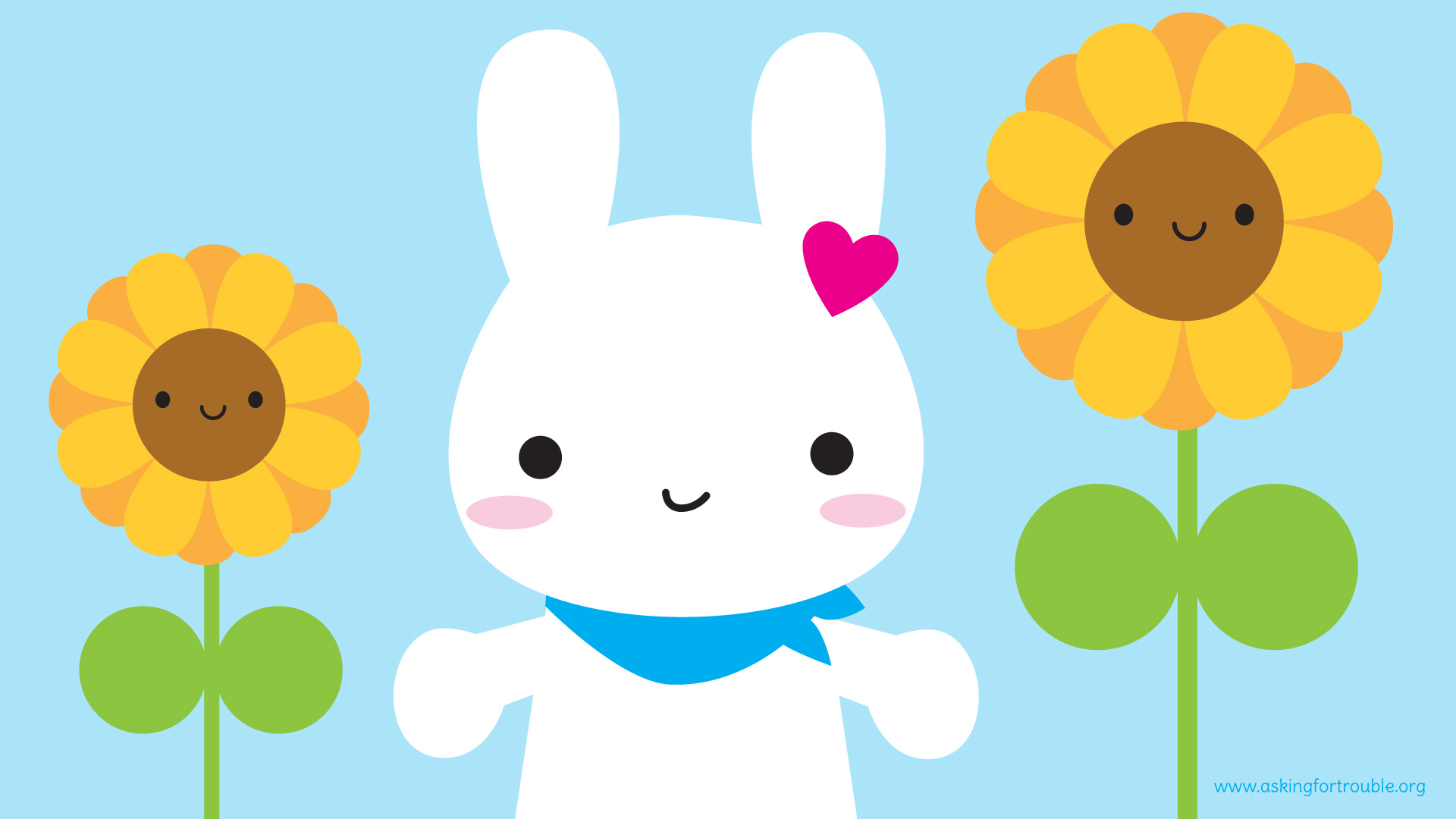 Hình nền dễ thương chú thỏ và hai cây hoa hướng dương