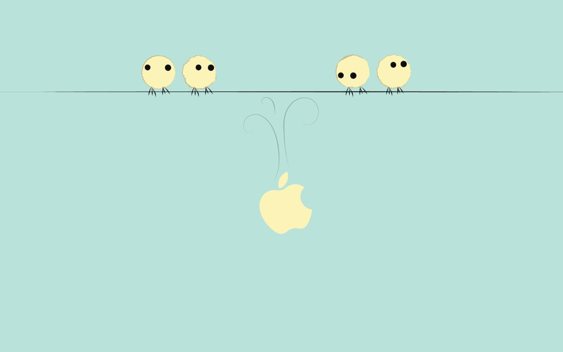 Hình nền HD chú chim và quả táo cắn dở dễ thương