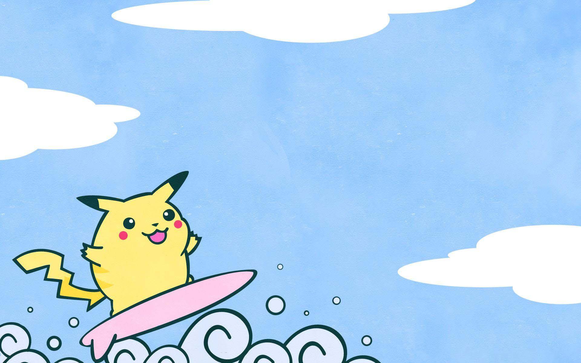 Hình nền HD đáng yêu chú chuột Pikachu đang lướt sóng