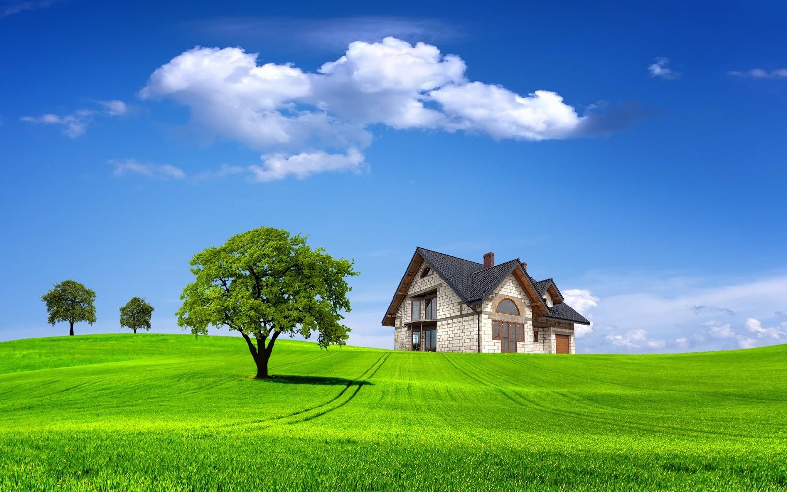 Hình nền máu tính thiên nhiên thảm cỏ xanh ngôi nhà lợp ngói