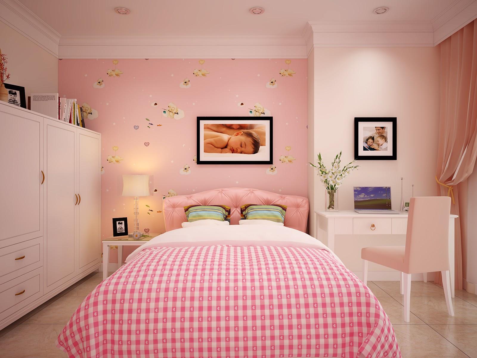 Hình nền máy tính HD phòng ngủ ngọt ngào với màu hồng