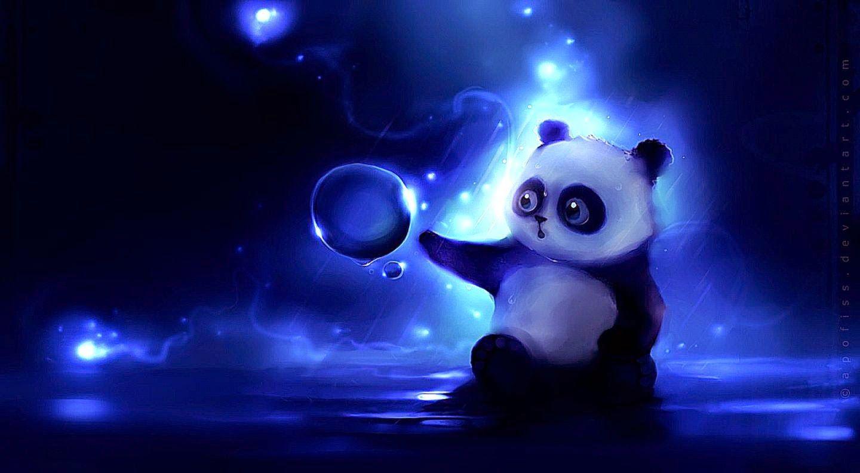 Hìnhn nền chú gấu trúc đáng yêu đang chơi với bong bóng