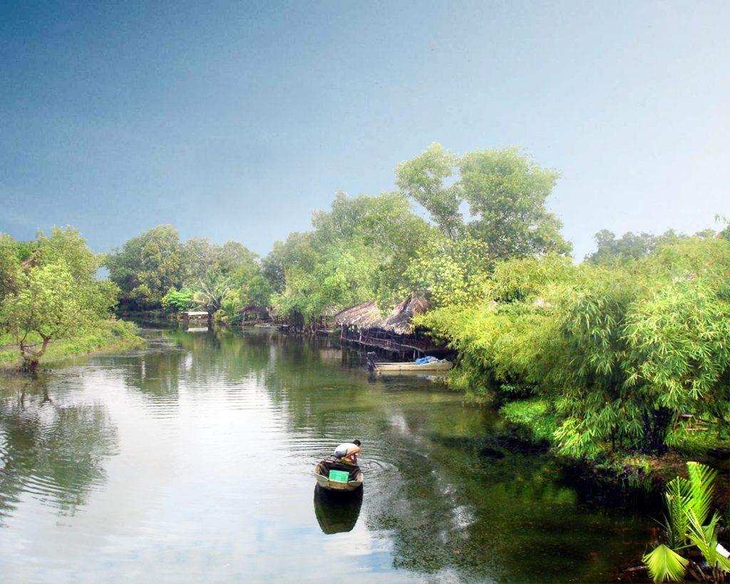 Phong cảnh thiên nhiên con thuyền giữa miền sông nước
