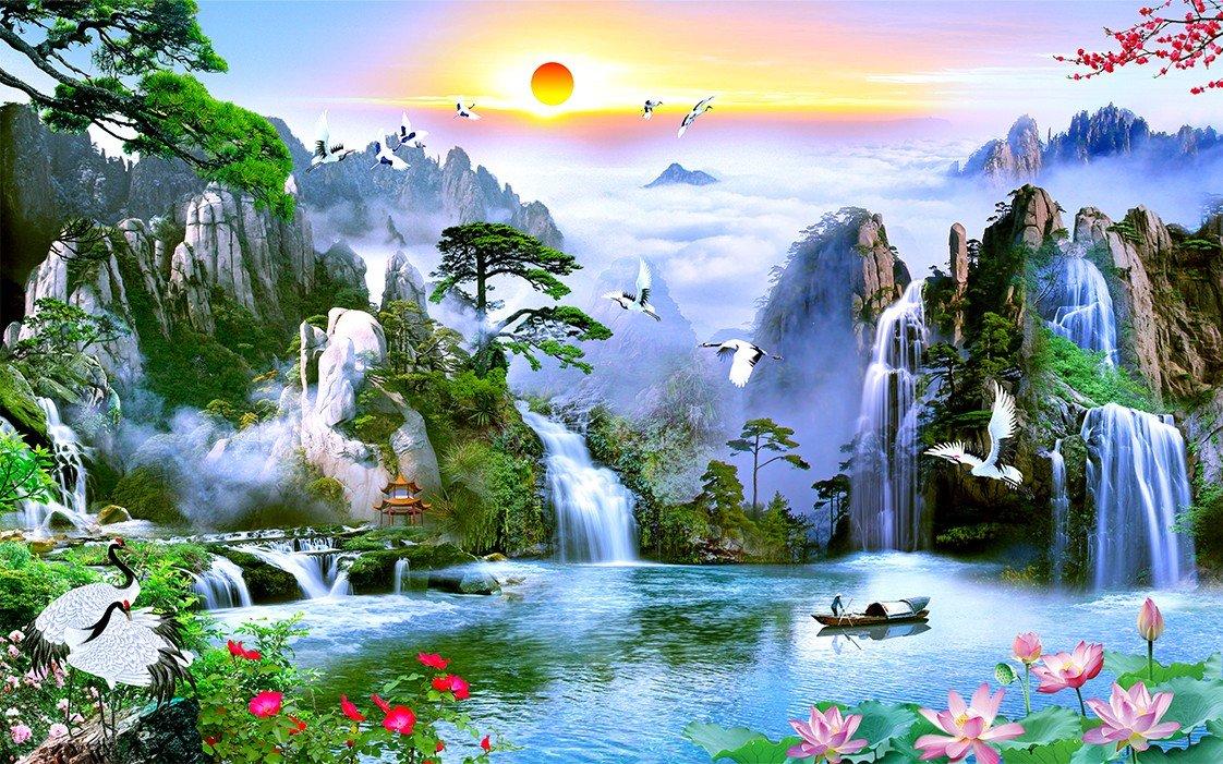 Tranh vẽ thiên nhiên phong thủy với thác nước và hồ xanh thật đẹp