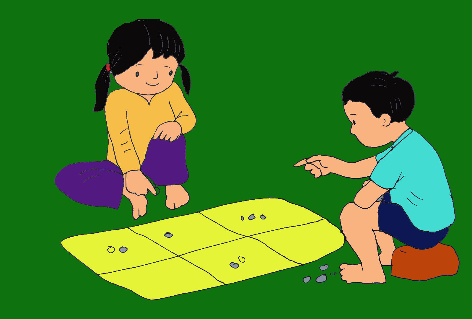 tranh vẽ trò chơi ô ăn quan
