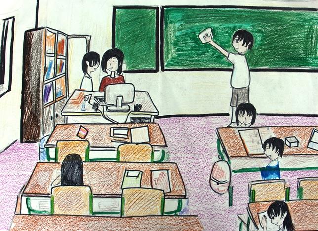 Bức tranh vẽ đề tài học tập