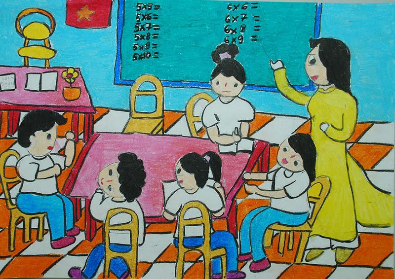 Bức tranh vẽ về đề tài học tập
