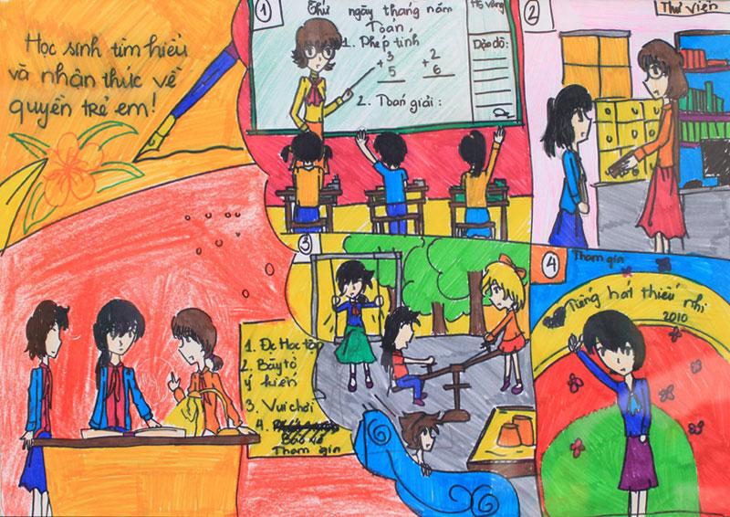 Những tranh vẽ về đề tài học tập của học sinh