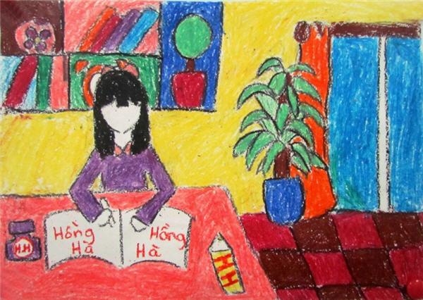 Tranh sáp màu chủ đề học tập