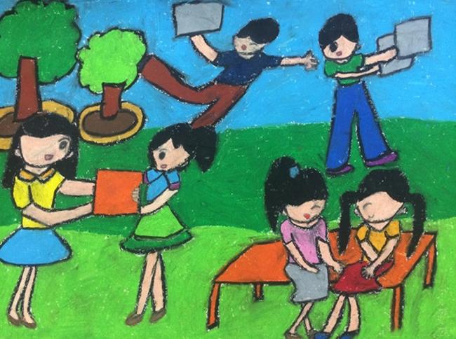 Tranh vẽ đề tài học tập của học sinh đơn giản mà đẹp