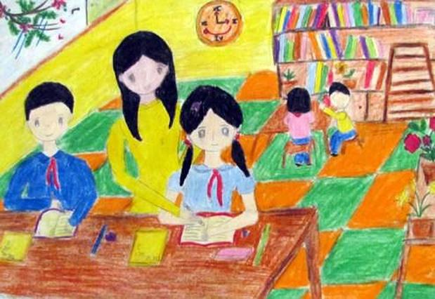 Tranh vẽ đề tài học tập của học sinh