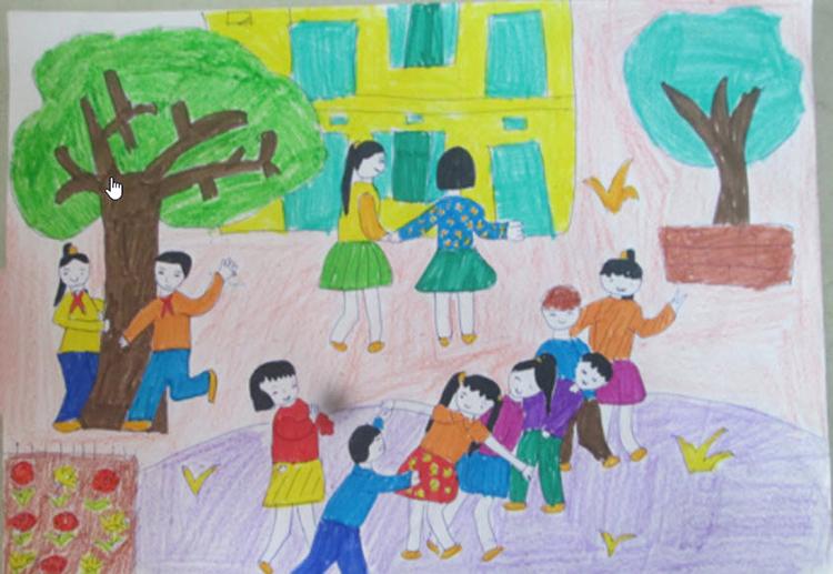Tranh vẽ đề tài học tập vui chơi của học sinh