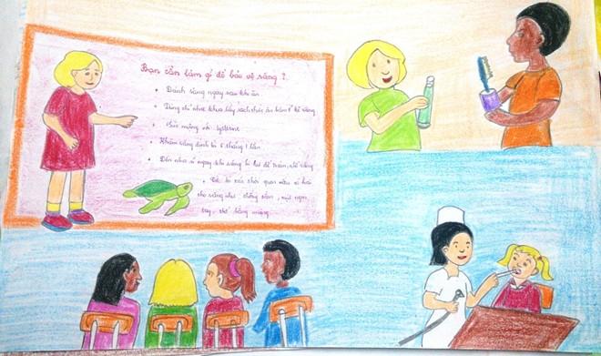 Tranh vẽ về đề tài học tập của học sinh