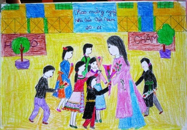 Vẽ tranh đề tài học tập lớp 6